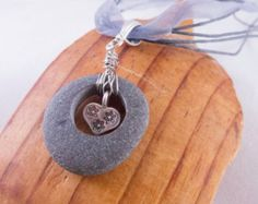 Ribbon Necklace with Ocean Stone & Thai Silver Heart  Pendant