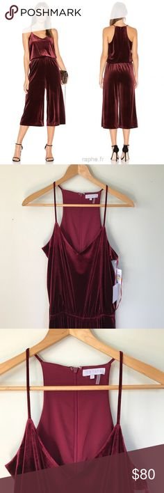 "9020bf0a168a NEW 1 State Burgundy Velvet Nomad Jumpsuit New with tags 1 state Burgundy  red velvet ""the nomad"" jumpsuit Size medium 1. State Pants Jumpsuits    Rompers"