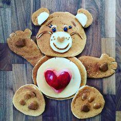 Tenderheart care bear pancake by Shannon Mazzei (@foodartfun)