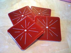 Red and White Fireworks Star Coasters by HangingValley on Etsy, $30.00