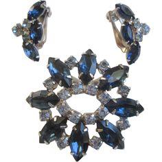 Cobalt Blue Rhinestone Brooch Earrings Vintage 1950s Demi Parure Jewelry Set  http://www.rubylane.com/item/676693-JL251/Cobalt-Blue-Rhinestone-Brooch-Earrings-Vintage