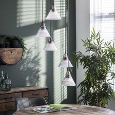Loftlampe i metal og glas Suspension Vintage, Corner, Ceiling Lights, Lighting, Metal, Home Decor, Drinkware, Corning Glass, Light Fixtures