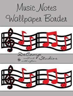 Red and Black Music Musical Notes Wallpaper Border Wall Art Decals for modern home room sticker decor #decampstudios