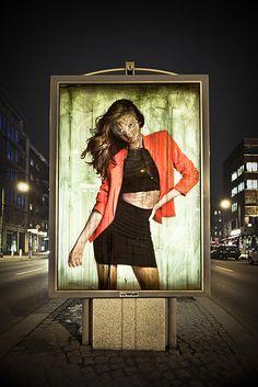 Berlin street artist, Vermibus dissolves advertisements with solvents, giving them an eerie mummified look. 3d Street Art, Best Street Art, Amazing Street Art, Street Artists, Graffiti Art, Mural Art, Wall Art, Berlin Street, Spanish Artists
