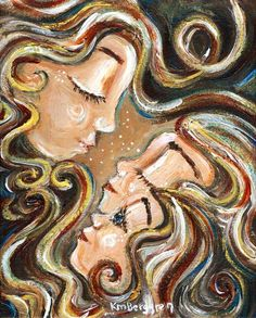 attachment daughter blonde hair brown curly hair connection cuddle emotion family intimate short hair long hair blue gift for mom girl red print on canvas Mother Daughter Art, Mother Art, Mother And Child, Tattoos For Daughters, Two Daughters, Brown Curly Hair, Short Hair, Mothers Love, Painting & Drawing
