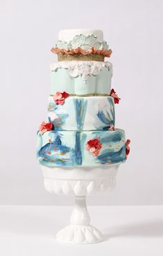 Hand painted wedding cakes are stunning, love the lace too Gorgeous Cakes, Pretty Cakes, Amazing Cakes, Beautiful Cake Pictures, Unique Cakes, Creative Cakes, Elegant Cakes, Ocean Cakes, Painted Wedding Cake