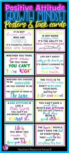 Positive Attitude Growth Mindset Task Cards Posters And Coloring Pages