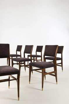 Gio Ponti; Walnut and Brass Side Chairs for Cassina, c1955.