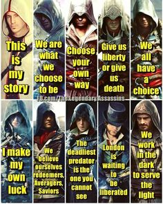 What is your favorite quote out of these? -GDM #assassinscreed #assassins #assassin #ac #assassinscreeed2 #assassinscreedbrotherhood #assassinscreedrevelations #assassinscreed3 #assassinscreedblackflag #assassinscreedrogue #assassinscreedunity #assassinscreedsyndicate #altairibnlaahad #ezioauditore #connorkenway #edwardkenway #arnodorian #jacobfrye #eviefrye #GeekVerse