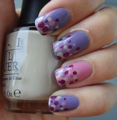 dots in pink and purple nails