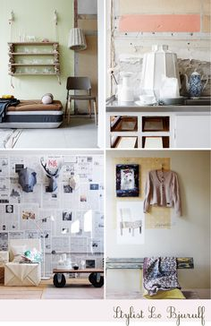 Love the top left hanging shelving... I've got to make this!