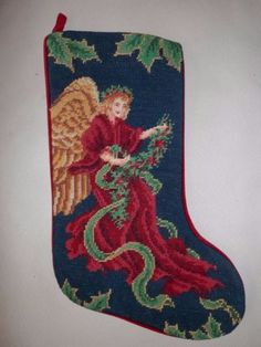 Vtg-Completed-Wool-Needlepoint-Christmas-Stocking-GIFT-Angel-Big-Wings-new