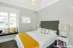 Resene Quarter Foggy Grey is used in the main bedroom. Photo by First Light Photography. http://www.habitatbyresene.co.nz/amanda-unlocks-magic-white