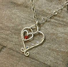 Handmade Sterling Silver and Swarovski Crystal Wire Wrapped Heart Pendant