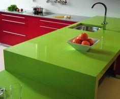 Silestone quartz green fun - bar top idea (w/ white-orange-red-black mosaic tile bar base)