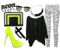 """neon zebra"" by ninapaz27 on Polyvore"