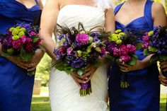 love these jewel toned bouquets