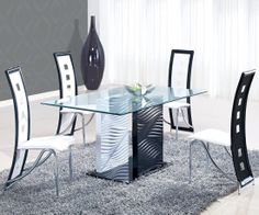Attirant Global Furniture USA D1021 Clear Glass/Black Dining Table With White Legs