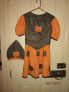 Beautiful Antique Halloween Homemade Cat Costume from early 1900s.