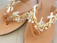 Leather wedding sandals- Gold chain decorated sandals- Pearl sandals-Bridesmaid sandals -Greek leather sandals with pearls-Women sandals- on Etsy, $51.66