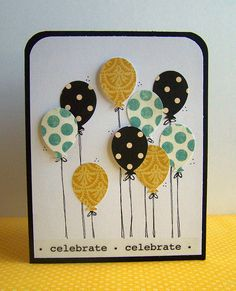 handmade card: Celebrate Birthday Card by Tessa Buys . plethora of balloons puched from printed papers . lile the top corners rounded like the balloons . Handmade Greetings, Greeting Cards Handmade, Karten Diy, Card Making Inspiration, Happy Birthday Cards, Card Birthday, Birthday Kids, Paper Cards, Kids Cards