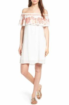 Sun & Shadow Embroidered Off the Shoulder Dress