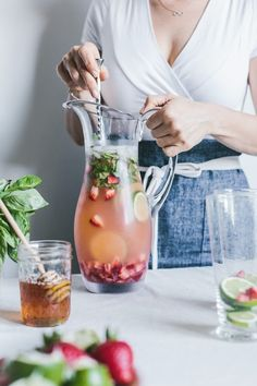Honey-Sweetened Limeade with Strawberries and Basil - Foolproof Living