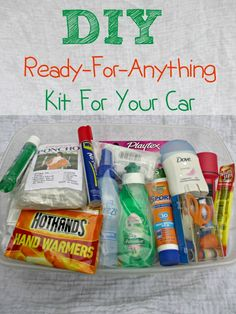 DIY Car Emergency Preparedness Kit List - be ready for anything from a spontaneous decision to spend the night at a friends, head to the beach or an unexpected emergency like having the car break down with kids in the car or getting stung by a bee: Emergency Preparedness Kit List, Car Survival Kits, Emergency Bag, Emergency Preparation, Emergency Supplies, Camping Supplies, Disaster Preparedness, In Case Of Emergency, Survival Prepping
