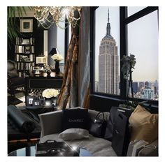 """Empire State of Mind"" by annmaira ❤ liked on Polyvore featuring interior, interiors, interior design, home, home decor, interior decorating, La Maison, Visual Comfort and Hervé Gambs"