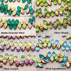 CzechMates Leaves Multicolor AB OR Matte Czech Glass by KanduBeads