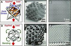 Superlattice material pictures// Architecture of stretch-dominated and bend-dominated unit cells and lattices. (A) Mechanical response to compressive loading of a stretch-dominated octet-truss unit cell. (B) Octet-truss unit cells packed into a cubic microlattice. (C) SEM image of a stretch-dominated lattice material composed of a network of octet-truss unit cells. cont below