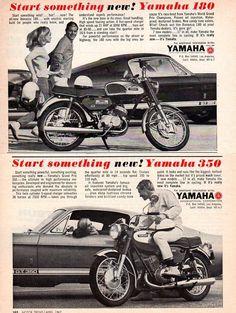 "2 Vintage Original 1967 Yamaha Motorcycle Ads w Shelby GT350S 5"" x 8"" Each | eBay"