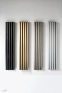 HOMES - Residential Interiors for Home Design Professionals - Soho radiators in anodized aluminum by Tubes Radiatori. Tv Unit Interior Design, Tv Unit Furniture Design, Tv Wall Design, Modern Interior Design, Interior Office, Home Design, Design Ppt, Tv Unit Decor, Tv Wall Decor