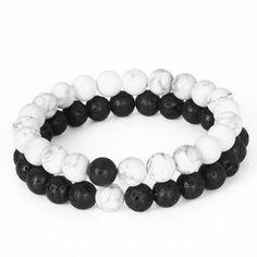 Friendship-8MM-Lava-Stone-Howlite-Yoga-Couples-Beaded-Bracelet-Yin-Yang-jewelry Más