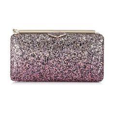 98d7dbe52b Jimmy Choo Ellipse Candyfloss And White Sand Party Coarse Glitter Dégradé  Fabric Clutch Bag