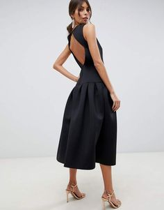 9d9adcaf2cdc43 ASOS DESIGN drop waist midi dress Black Bridesmaid Dresses