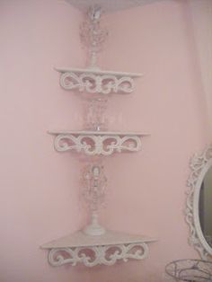 Corner shelves - this design? - from Not So Shabby - Shabby Chic: My Beautiful Bedroom Shabby Chic Homes, Shabby Chic Style, Old Room, Lucky Girl, Corner Shelves, Beautiful Bedrooms, Cottage Style, Vintage Fashion, Chandelier