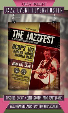Jazz Event Flyer / Poster Template PSD