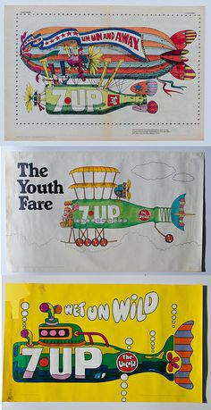 7Up UnCola trio of posters by Ed George [1970]