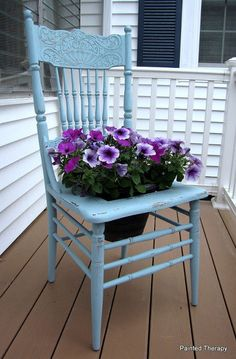 plant fashion 7 glamorous potting ideas, container gardening, flowers, gardening, succulents, Furniture Turn a chair into a planter for your garden Remove the seat or cut a hole in it add chicken wire for a frame to hold your flowers and you re ready to plant