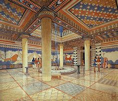 Rendering of what it is believed the interior of the megaron of the palace at Mycenae in Greece would have looked like when it was built (c. 1500 - 1300 BCE). Palaces like this were built around a large open courtyard that was accessed from an outer vestibule and portico that was flanked by two columns. The symmetrical plan and placement of the megaron suggests the beginnings of a formal and monumental approach to planning.