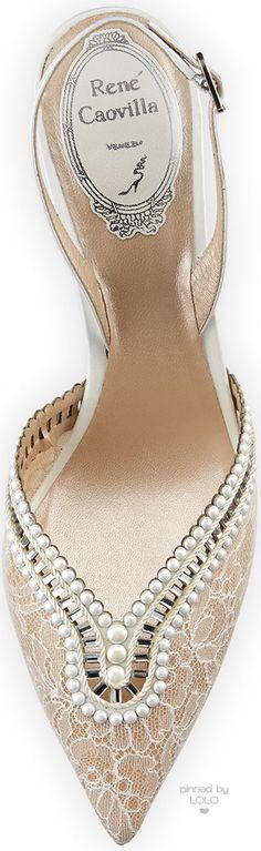 Rene Caovilla Embellished Lace Halter Pump, White | LOLO❤︎