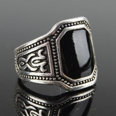 Europe Style Vintage Silver Finger Signet Rings Geometric Black Enamel Ring For Men Cool Jewelry Anel Masculino Bijoux