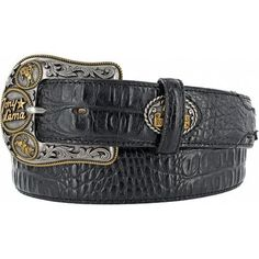 Tony Lama Dress Gator Print Black Leather Belt