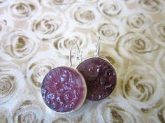 Vintage PURPLE floral glass earrings cabochons from Japan,  by SewSandyShop, $18.00