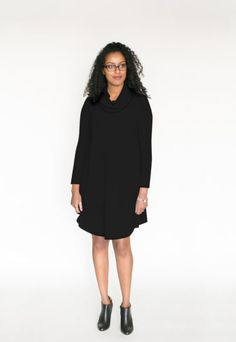 *pre-sale* Cowl Neck Dress – black (ships in 2 to 4 weeks) $98.00  All the comfort and style of our swing dresses plus a lovely cowl neck! This brand new dress is going to be a hit for sure! We have changed the bottom hemline and made the front and back longer than the sides to create a nice look with tall boots or your favourite short booties (we love to wear ours with our Poppy Barley shoes).