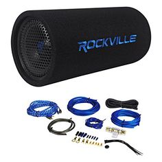 poly planar b0x 200w white waterproof full size box speakers pair package rockville 400 watt watt rms enclosed vented powered car bass tube subwoofer rockville 8 gauge 2 channel complete wire kit rca cable