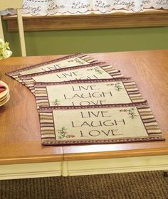 Live Laugh Love Placemats Set of 4 Primitive Country Tapestry Table Mats:Amazon:Home  Kitchen