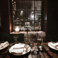 """kristenmerieandacupoftea: """"When you both have crazy schedules and Sunday night is the only time you can see each other. 🍷👩❤️👩 (at Brooklyn, New York) """" Night Fever, Through The Window, Cosy, Table Settings, Kitchen Appliances, Brooklyn, Sunday Night, Melancholy, Bb"""