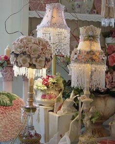 victorian inspired lamps. good ideas to help cover an old lamp shade
